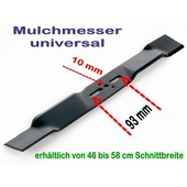 Rasenmähermesser Mulchmesser L. 56 / 57 cm universal bei Rasenmäher mit 10mm Messerzentrierung