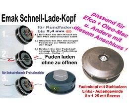 Freischneider Fadenkopf Dynamac emak DB 26 30 40 41 42 L 8x1,25 Li. Bolzen / Außengewinde Motorsense Quick-Load