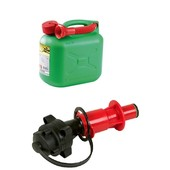 Kanister 5 li. grün mit Einfüllstutzen für Kettensäge Einfüllsystem für Kraftstoff mit manuell u. Automatik Einfüller