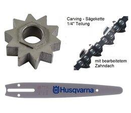 "Carving Umrüstung 1/4"" 25cm Husqvarna 317 / 321 EL Elektro - Kettensäge 11 Zähne"