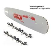 """Schwert 50cm Oregon + 2 Sägeketten Stihl 024 MS 240 026 MS 260 028 030 031 Teilung 3/8"""" Profi 1,6 Führungsschiene Ketten Kombi"""