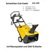 - Schneefräse Cub-Cadet 4-Takt Benzin-Motor Räumpaddel Räumnreite 53cm 230V Elektrostarter + Seilzugstarter