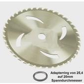 Rodungssägeblatt Hartmetall 40-Zahn 255 20 / 25,4 1.8 Freischneider Rodung Sägeblatt mit Adapterring geräuscharm