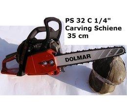 "Carvingsäge Dolmar PS 32 C 1/4"" 35cm Carving-Schwert 2cm Spitze Kettensäge bearbeitete Sägekette + Ersatzkette"