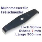 Freischneidermesser Mulchmesser  2-Zahn 90° Kröpfung 300 x 20 x 3mm Dickichtmesser Motorsense Freischneider