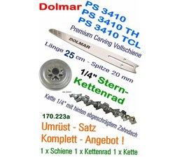 "Carving Umrüstsatz 1/4"" Dolmar PS 3410 + TH + TCL Kettensäge 1x Dolmar-Schwert 1x Kettenrad 1x Sägekette"