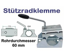 Anhängerstützrad - Halter Stützradklemme für PKW - Anhänger Stützräder mit 60mm Rohrdurchmesser