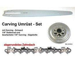 """Umrüstsatz STIHL MS170 180 210 230 250 017 018 021 025 Typ 1123 Sternkettenrad 1/4"""" + 25cm Schwert + Sägekette"""