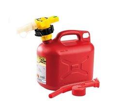 Kanister 5 li. rot mit Einfüllstutzen für Kettensäge Einfüllsystem für Kraftstoff mit manuell u. Automatik Einfüller