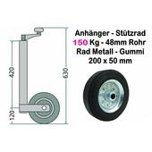 Stützrad für Anhänger Metallrad bis 150 Kg Stützlast Vollgummi Rohrdurchmesser 48mm + Klemmschelle