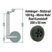 Stützrad für Anhänger Kunststoffrad bis 100 Kg Stützlast zugelassen Rohrdurchmesser 48mm + Klemmschelle