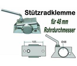 Anhängerstützrad - Halter / Stützradklemme für PKW - Anhänger Stützräder mit 48mm Rohrdurchmesser
