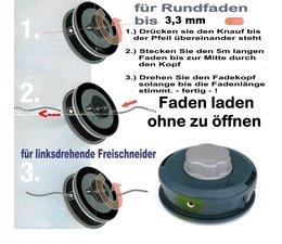 Fadenkopf Husqvarna 16R + 25R vor 87 + Jonsered Red 300 , LR 200 bis 300 8 X 1.25 Li. Bolzen Außengewinde
