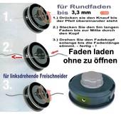 Fadenkopf Shindaiwa R20 , R25 , R35 F C23  C25  C250  C27 Freischneider / Motorsense mit 8 X 1.25 Li Bolzen am Kopf EasyLoad
