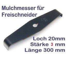 Freischneider Mulchmesser 2-Zahn 90° 300 x 20 x 3 mm Dickichtmesser mit Häckseleffekt für Motorsense