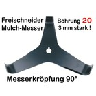 Freischneider Mulchmesser 3-Zahn 90° 300 x 20 x 3 mm Dickichtmesser für Motorsense