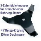 Freischneidermesser Mulchmesser 3 Zahn  45° 300 / 20 / 4mm Dickichtmesser für Motorsense + Freischneider