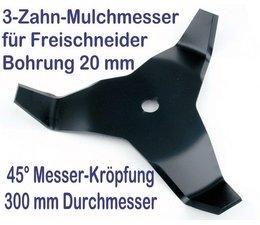 Freischneider Mulchmesser 300 / 20 / 4mm / 45° 3-Zahn Freischneidermesser Dickichtmesser für Motorsense