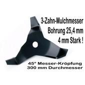 Freischneidermesser Mulchmesser 3-Zahn 45° 300 / 25,4 / 4mm Dickichtmesser für Motorsense + Freischeider