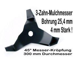 Freischneider Mulchmesser 300 / 25,4 / 4mm / 45° 3-Zahn Freischneidermesser Dickichtmesser für Motorsense