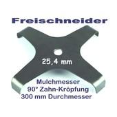 Freischneidermesser Mulchmesser 4-Zahn 300 / 25,4 / 90° 3mm Dickichtmesser für Motorsense + Freischneider