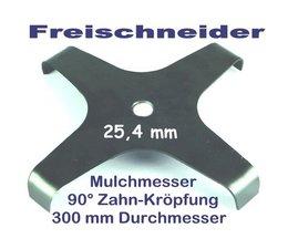Freischneider Mulchmesser 4-Zahn 300 / 25,4 / 90° 3mm Freischneidermesser Dickichtmesser für Motorsense