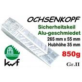 Forstkeil 265 x 55 mm 850g Ochsenkopf Alu-Keil Größe 2 Spaltkeil zum Holz Spalten und Fällen