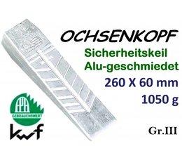 Forstkeil 265 x 60 mm 1050g Ochsenkopf Alu-Keil Größe 3 Spaltkeil zum Holz Spalten und Fällen