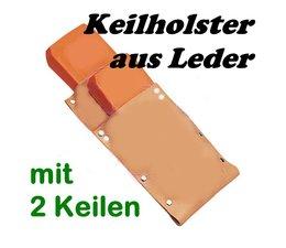 Forstkeil Holster Keilholster Keiltasche 3 mm Leder + 2 x Fällkeil / Schnittkeil für Motorsägen