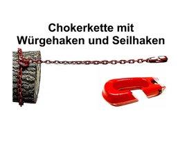 Forstkette Rückekette 4-Kant 8mm 2,5m G8 mit Schlinghaken + Seilhaken bis 16mm Seil