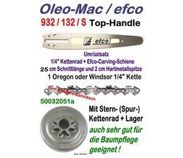 "Carving Umrüstsatz Oleo-Mac 932 efco 132 / 132 S Top-Handle Kettensäge Schwert 25cm Kettenrad 1/4"" Sägekette"