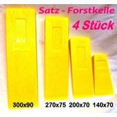 Forstkeil Fällkeil Schnittkeil Keil Satz 4 Stück aus Spezial- Kunststoff Oregon Länge 300 + 270 + 200 + 140 mm