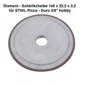 """Schleifscheibe Diamantscheibe Schärfscheibe für Hartmetall- Sägeketten Stihl Duro 3/8"""" Picco + .325"""" 145mm x 3,2mm Bo. 22,2mm TR o.  FR"""