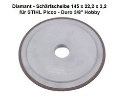 """Diamantscheibe Schärfscheibe für Hartmetall- Sägeketten Stihl Duro 3/8"""" Picco + .325"""" 145mm x 3,2mm Bo. 22,2mm TR o.  FR"""