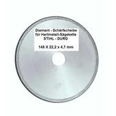 """Schleifscheibe Diamantscheibe Schärfscheibe für Hartmetall- Sägeketten Stihl Duro 3/8"""" Profi 145mm x 4,7mm Bohr. 22,2mm R-M"""