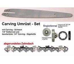 "Carving Umrüstsatz Husqvarna 42 242 246 Kettensäge nach Nr. 3441001 Schwert + Kettenrad 1/4"" + Sägekette"