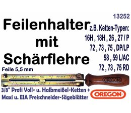 """Feilenhalter Schärflehre mit Feile 5,5mm für Kettensäge mit 3/8""""Profi und 0.404"""" Kettenteilung alle Nutbreiten"""