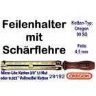 """Feilenhalter Schärflehre mit Feile 4,5mm für Kettensäge mit 3/8"""" Hobby 1,1mm und 0.325"""" Vollmeißel Kettenteilung"""