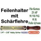 """Feilenhalter Schärflehre mit Feile 4,0mm für Kettensäge mit 3/8"""" Hobby und 1/4"""" Carving Kettenteilung"""