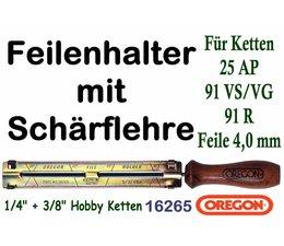 """Feilenhalter Schärflehre mit Feile 4,0mm für Kettensäge mit 3/8"""" Hobby 1,3 Nutbreite und 1/4"""" Carving Kettenteilung"""