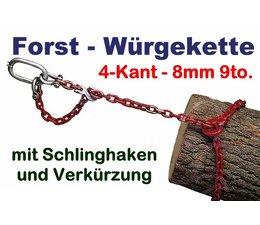 Forstkette 3.0m mit Verkürzung 8mm 4-Kant Kettenglieder G8 mit Öse 110x60x16 als Rückekette Chokerkette