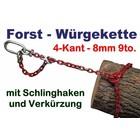 Forstkette 4.0m 4-Kant 8mm Rückekette mit Verkürzung G8 mit Öse 110x60x16 als Chokerkette