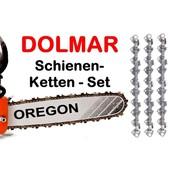 """Schneidgarnitur Dolmar PS 43 > 115 + 460 > 6100 Schwert 38cm + 3 Sägeketten 3/8"""" P 56 Trgl. 1,5 Nut Kettensäge"""