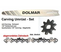 """Carving Umrüstung 1/4"""" Kettenteilung Makita UC 3041A UC 3541A + UC 4041A E-Kettensäge Schwert 25cm + Kettenrad + Sägekette"""