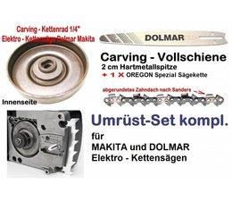 """Carving Umrüstsatz 1/4"""" Makita UC 3530AP + UC 4030AP E-Kettensäge Längsmotor Schwert 25cm Kettenrad 1/4"""" Kette"""