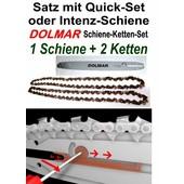"""Schneidgarnitur Dolmar ES PS Kettensäge QuickSet Schwert 30cm + 2 x Sägekette 3/8"""" H 1,3mm Nutbreite"""