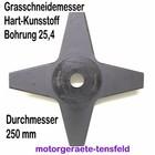 Freischeidermesser Grasmesser Nylon - Kunststoff 4-Zahn 255mm Durchm. 2 Stck. 25,4 mm Aufnahme Motorsense