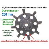Freischeidermesser Grasmesser Nylon - Scheibe 260 mm 2 Stck. 8-Zahn 25,4 mm Aufnahme Motorsense