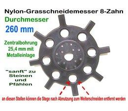Freischeidermesser Grasmesser Nylon - Scheibe 260 mm 2 Stck. 8-Zahn 25,4 mm Aufnahme Motorsense geschmeidig