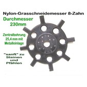 Freischeidermesser Grasmesser Nylon - Scheibe 230 mm 2 Stck. 8-Zahn 25,4 mm Aufnahme Motorsense